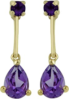 14kt Yellow Gold 7x5mm Pear and 3mm Round Amethyst Tear-Shaped Precious Drop Earrings