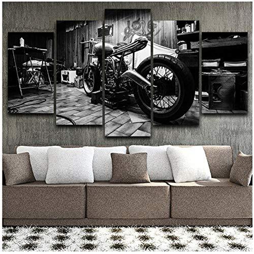 Dayanzai Salon Hd Imprimé Modulaire Toile Affiches 5 Panneaux Vintage Moto Mur Art Peinture Décoration Photos 30X50 30X70 30X80Cm Sans Cadre