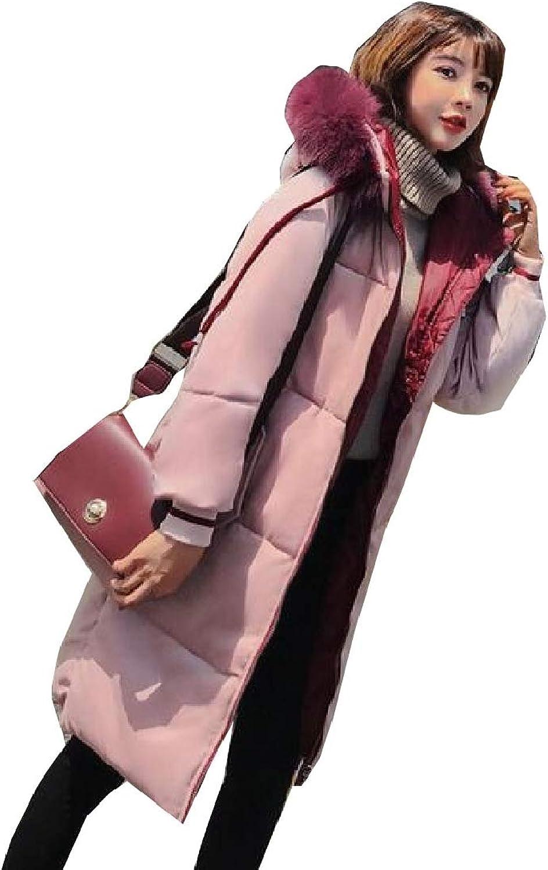 Keaac Womens Long Sleeve Velvet Faux Fur Collar Hooded Down Coat