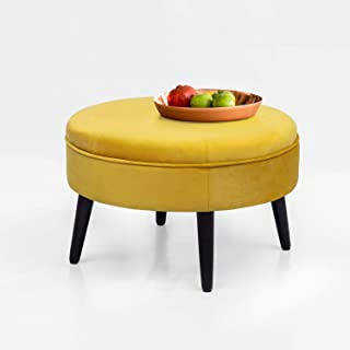 Adeco Round Tufted Fabric Ottoman Foot Rest Footstool - 23x23x14.5 Inch, Sunset Yellow