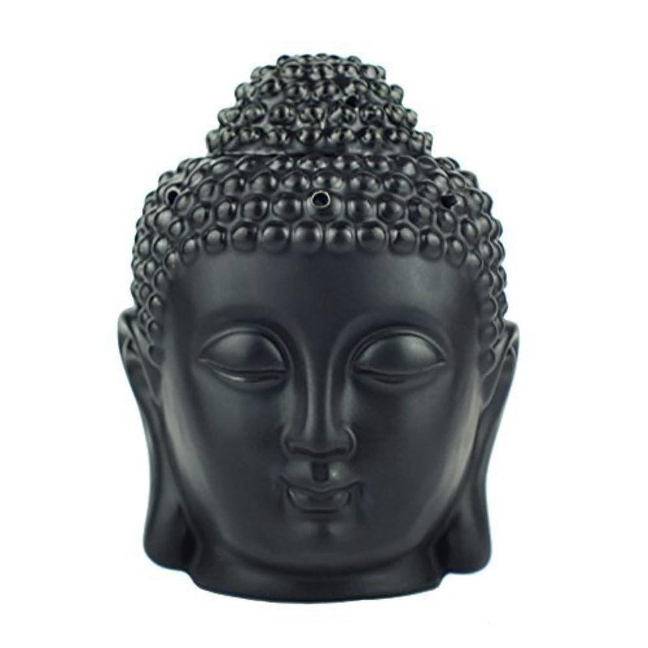 ラッカスメイト顎moylor Buddha Head Statueオイルバーナー半透明セラミックアロマセラピーDiffusers父の日のギフトとホームデコレーション(ホワイト&ブラック)