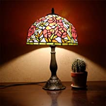 Tiffany Style Table Lamp, 12 Inch Rural Vintage Stained Glass Shade Desk Lamp Alloy Base Reading Lamp for Living Room Bedroom Study Room,Rose