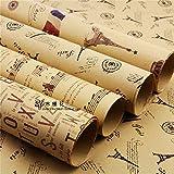 Papel de envolver, Leaptech Papel de envolver de tamaño doble Papel de envolver del periódico de la vendimia Paquete de envoltura de Artware Papel de envolver de Navidad de 5 piezas en un diseño diferente 75 * 51 cm (Retro)