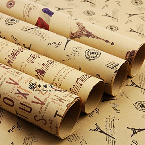 Papel de envolver, Leaptech Papel de envolver de tamaño doble Papel de envolver del periódico de la vendimia Paquete de...