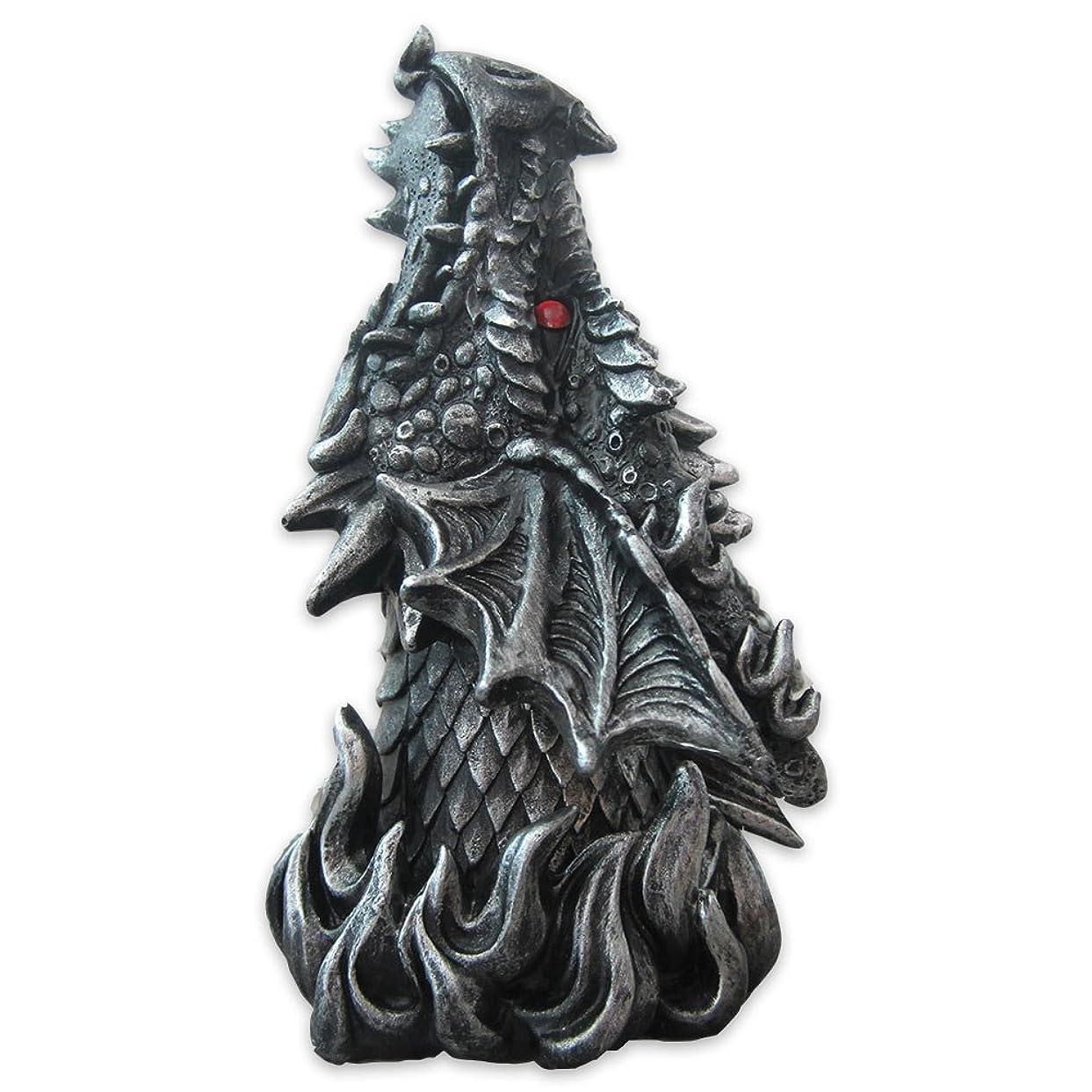 雄弁闘争床Dragon Figure Cone Incense Burner Fiery Eyes - Gothic Smoke Breathing Decor
