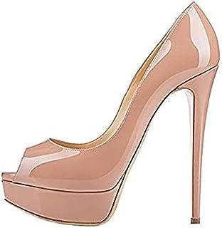 ACEDICHY Women's Graceful Sexy High Heels Peep Toe Slip On Platform Pumps Stiletto Dress Party Wedding Shoes