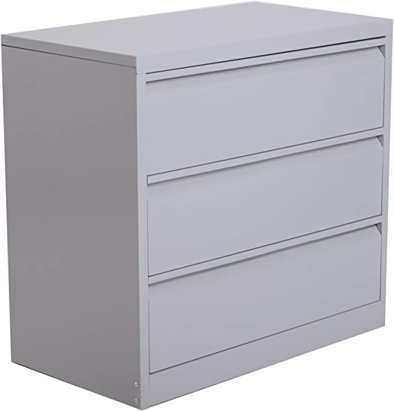 HomCom 32 W X 18 D X 30 H 3 Drawer Steel Metal Lateral File Cabinet