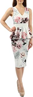Ladies Floral Peplum Waist Ruffle Midi Bodycon Dress US Size 6-14