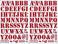 (シャシャン)XIAXIN 防水 PVC製 アルファベット ナンバー ステッカー セット 耐候 耐水 ローマ字 数字 キャラクター 表札 スーツケース ネームプレート ロッカー 屋内外 兼用 TS-518 (レッド, 2点)