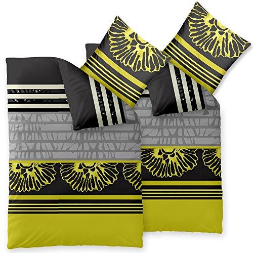 CelinaTex Harmony Bettwäsche 135 x 200 cm 4teilig Mikrofaser Bettbezug Jolien Streifen Blumen Schwarz Gelb Grau
