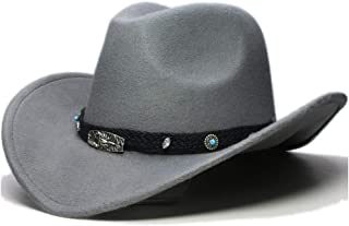 CHENDX High Quality Hat, New Women Men Wool Hollow Roll-up Wide Brim Hat Western Cowboy Cowgirl Jazz Hat Equestrian Sombrero Cap with Fashion Band (Color : Gray, Size : 56-58CM)