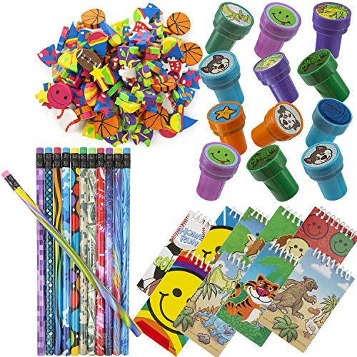 Favonir Assorted Party Souvenir Favors 84 Bundle | Mini Notebooks, Erasers, Stampers & Pencils in Variety of Styles | Kids Birthday Party Supplies Bulk Set