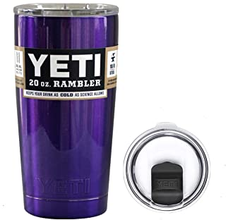 YETI Coolers 20 Ounce (20oz) (20 oz) Custom Rambler Tumbler Cup Mug Bundle with New Magslider Spill Proof Lid (Purple Metallic)