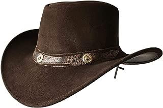 Mens Suede Leather Cowboy Aussie Style Down Under Hat Wide Brim