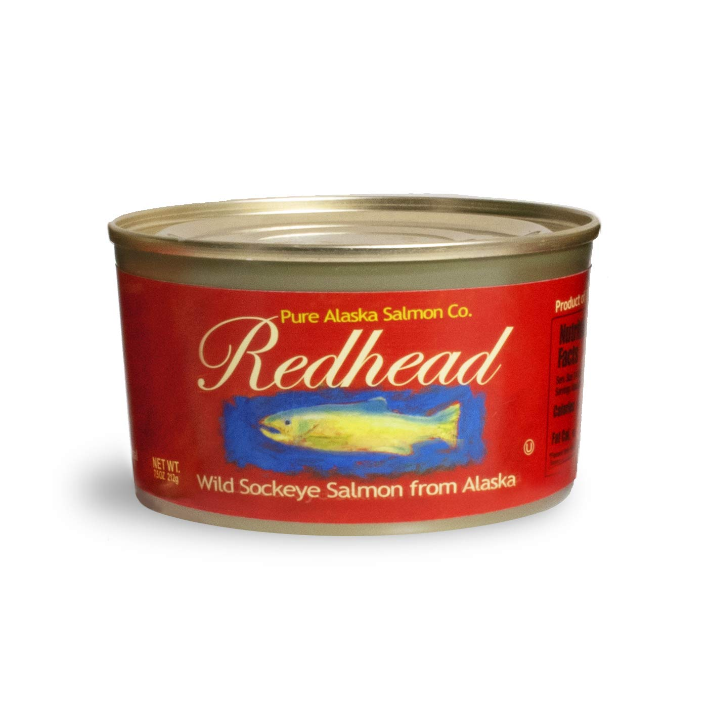 Redhead Wild Sockeye Salmon From Alaska, (12) 7.5 Oz. Cans