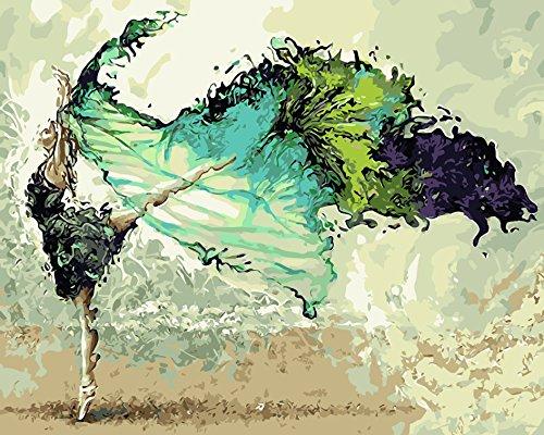 WISKALON Bricolaje Kit de Pintura por Números, Pintar por Numeros sobre Lienzo para Adultos Niños Principiantes - Bailarina Abstracta 16 * 20 Pulgadas sin Marco