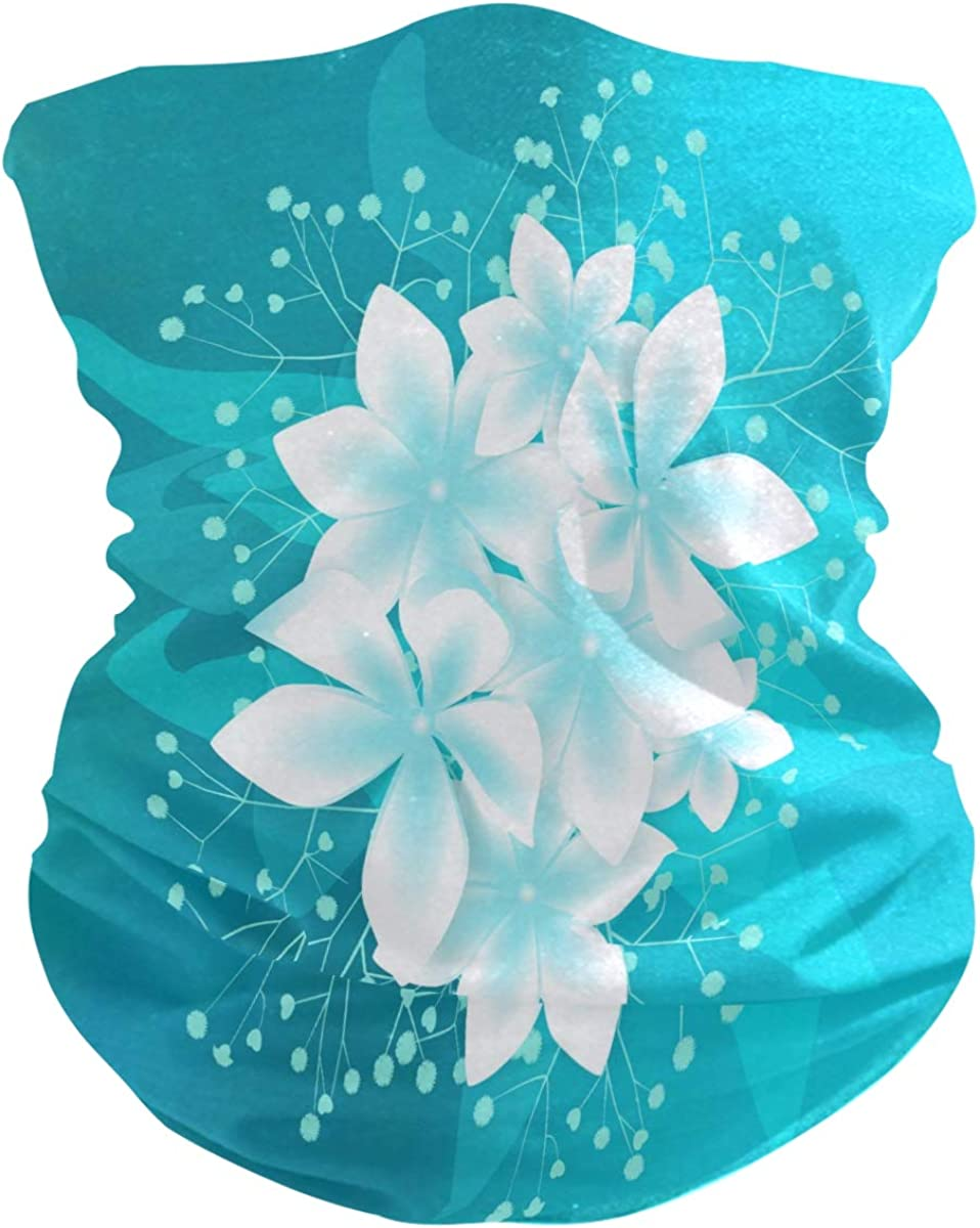 SUABO Neck Gaiter for Women Men White Beauty Flowers Face Sun Scarf Wrist Band Bandanas for Dust, Outdoors, Sports