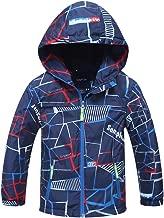Laus Kid Girls Windbreaker Fleece Lined Rain Coat Lightweight Windproof Waterproof Jacket with Hood