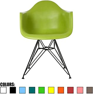 2xhome Shell Plastic Shell Dining Arm Chair With Black Metal Legs, Green
