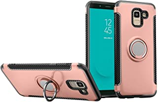 Galaxy J6 2018 Case DWaybox Hybrid Back Case Cover with 360 Degree Rotation Ring Holder for Samsung Galaxy J6 2018 5.6 Inch Compatible with Magnetic Car Mount Holder (Rose Gold)