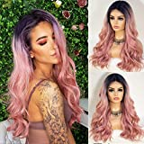 K'ryssma Pink Lace Front Wig Ombre with Roots T Part Medium Length Wavy Synthetic Wigs for Women Heat Resistant 2 Tone Ombre Pink Wig