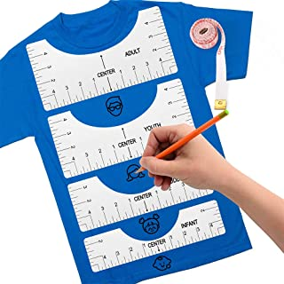 Tshirt Ruler Guide - Tshirt Alignment Ruler Guide for Vinyl and Heat Press Making Fashion Sewing Center Design, Practical Tshirt Measurement Tool (White)