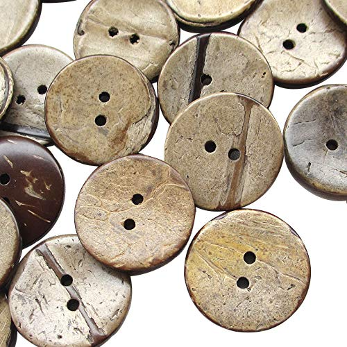 Chenkou Craft 100 botones de coco natural marrón de 22 mm, 22 mm, 22 mm