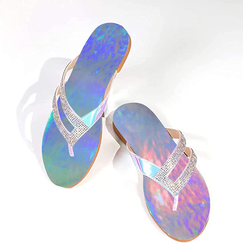 Yamx Women Flat Sandals,Sandals Ladies Flat Rhinestone Crystal Slippers Comfy Beach Roman Shoes Flip Flop
