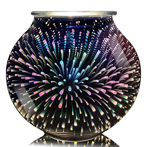 3D Fireworks Glass Electric Wax Warmer Furnace Sweet Atmosphere Furnace Home Office Bedroom Living Room Kitchen Gifts and Decorations