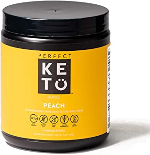 Perfect Keto Exogenous Ketones Powder, BHB Beta-Hydroxybutyrate Salts Supplement, Best Fuel for Energy Boost, Mental Performance, Mix in Shakes, Milk, Smoothie Drinks for Ketosis � Peach