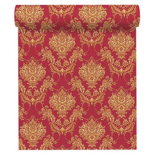 A.S. Création Fleecetapet Chateau 5 tapeter med barock ornament 10,05 m x 0,53 m gul metallisk röd tillverkad i Tyskland 344922 34492-2