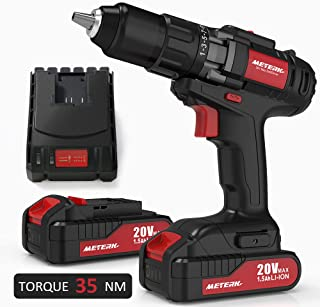 Drill Driver, Meterk 20V Cordless Electric Drill Driver with 2Pcs Li-Ion Batteries,2 Speed Drill Driver with 21+1 Position Clutch, 1/2