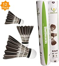 ZHENAN 12-Pack Advanced Goose Feather Badminton Shuttlecocks with Great Stability and Durability,Nylon Shuttlecocks Indoor Outdoor Sports Hight Speed Training Badminton Birdies Balls