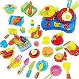 Juguete de Cocina Juego de Comida 60 Piezas Utensilios de Cocina para Niños Regalo