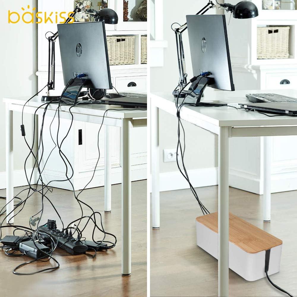 sistema de hub USB para ocultar y regletas y cables organizador de cables para ordenador de escritorio TV color blanco Organizador de cables Baskiss con tapa de madera