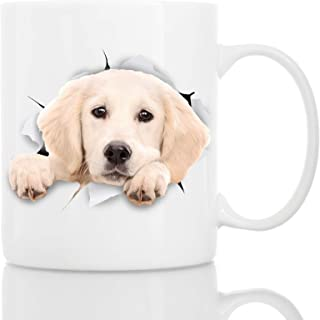 Peaking Labrador Dog Mug - Ceramic Funny Coffee Mug - Perfect Dog Lover Gift - Cute Novelty Coffee Mug Present - Great Birthday or Christmas Surprise for Friend or Coworker, Men and Women (11oz)