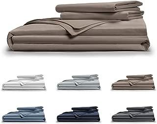 Pillow Guy Classic Cool & Crisp 100% Cotton Percale Duvet Cover Set Full/Queen Sandy Taupe