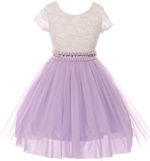 Cap Sleeve Lace Top Tulle Pearl Stone Belt Easter Graduation Flower Girl Dress