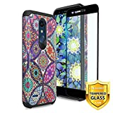 TJS Phone Case for LG K10 2018/K30/Premier Pro LTE/Harmony 2/Phoenix Plus/Xpression Plus, with [Tempered Glass Screen Protector] Dual Layer Hybrid Shockproof Drop Protection Rugged (Colorful Mandala)