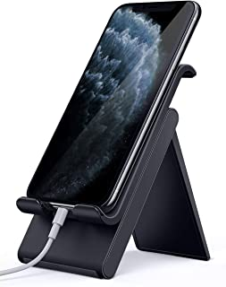Lamicall Adjustable Cell Phone Stand - Foldable Portable Holder Cradle for Desk, Desktop Charging Dock Compatible with iPhone 11 Pro XS Max XR X 8 7 6S Plus Samsung Galaxy S10 S9 S8 Smartphones Black