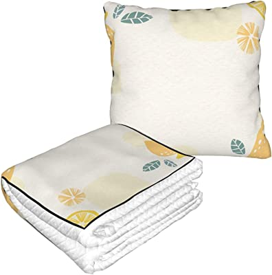 KXT Yellow Lemon Pattern Travel Blanket Pillow - Premium Soft 2 in 1 Blanket for Airplane Couch Sofa Bed