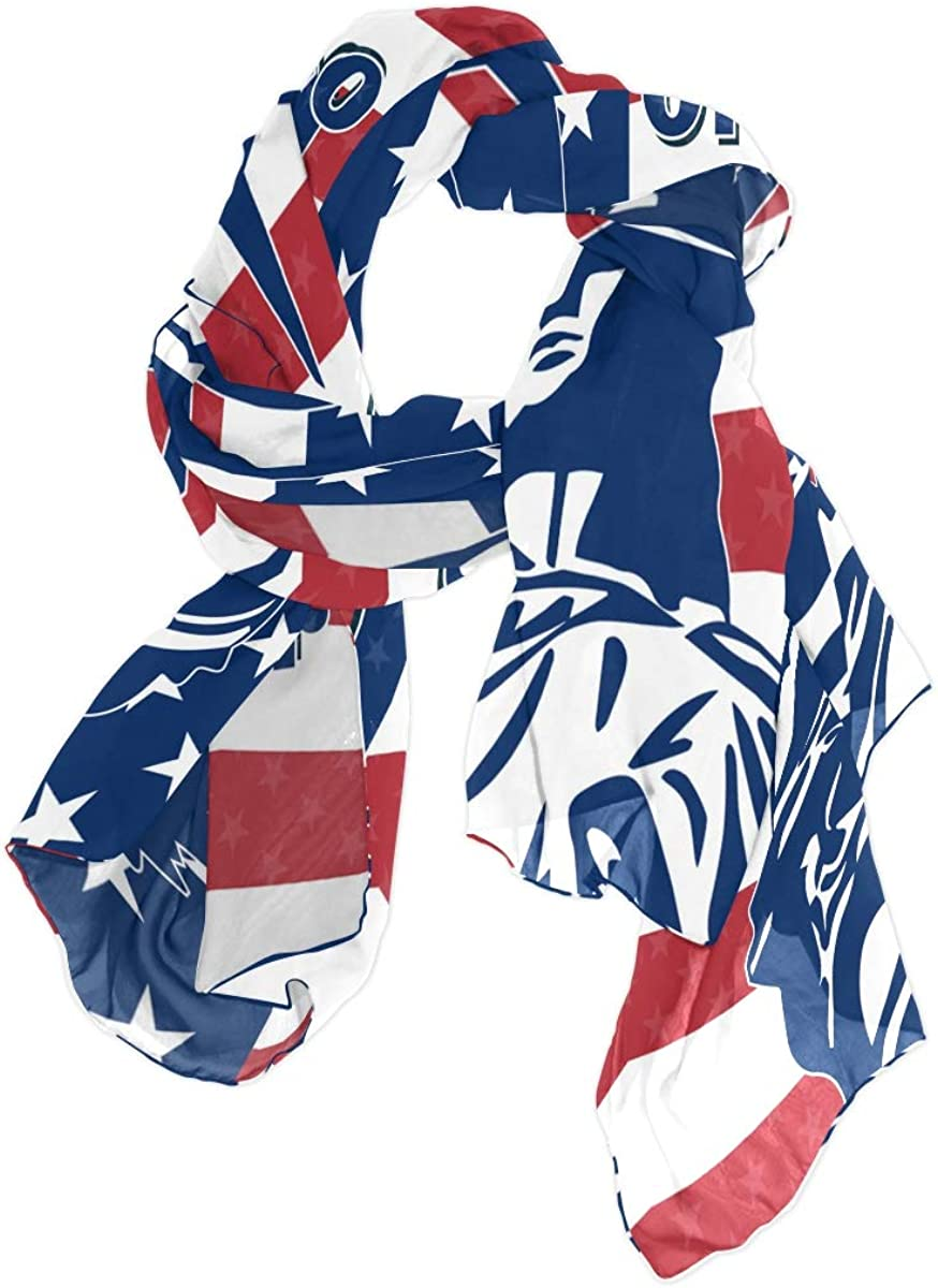 AUUXVA Fashion Scarf 4Th July American Flag Stripe Long Lightweight Sunscreen Scarf Shawl Wrap Muffler Neckerchief for Women Men