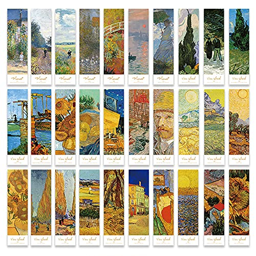 Doraking 30PCS Van Gogh Art Works Paper Bookmarks for Book Lovers, Boxed Famous Print Bookmarks Set (Painting)