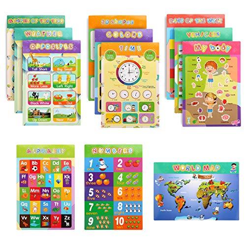 TOYMIS 12Pezzi Poster Per Bambini In EtàPrescolare Decorazioni Per Aule Numeri Di Insegnamento Colori Dell'Alfabeto Per La Scuola Materna Scuola a Casa Scuola Materna