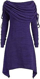 SOMTHRON - Vestito da donna a collo alto, slim e lungo, aderente, tinta unita, a maniche lunghe