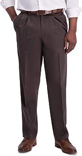 Haggar mens Iron Free Khaki Classic Pleat Front Expandable Casual Pant Pants