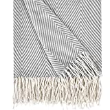 Herringbone Stripe Throw Blanket Decorative Soft Cashmere Blankets with Fringe 50 × 60 Inch Fuzzy Cozy Chevron Throws Lightweight for Bed, Sofa, Office, Car, Indoor, Outdoor, Gray and White