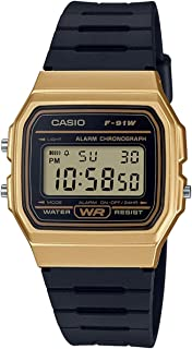 Casio Unisex-Adult Quartz Watch, Digital Display and Resin Strap F-91WM-9AEF