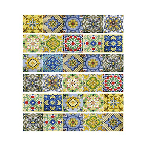 Njuyd - Lote de 6 pegatinas para suelo de baldosas de flores mixtas de PVC para decoración de baño, cocina, impermeable, papel pintado