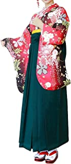 KYOETSU المرأة اليابانية Nisyakusode زهرة كيمونو نمط عادي هاكاما مجموعة من 3 قطع (X-Large، 09 × هاكاما: أخضر داكن (OBI: ور...